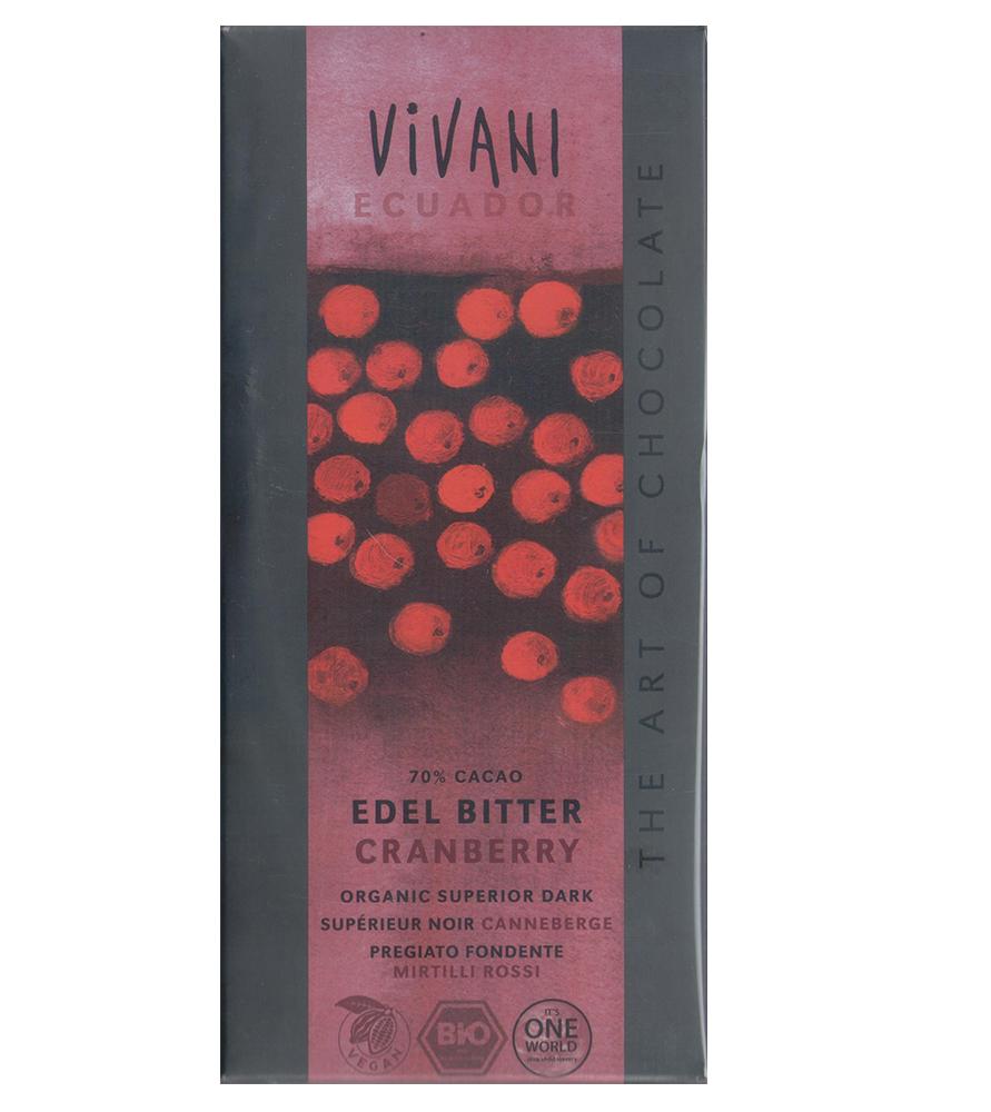 VIVANI有機70%黑巧克力片-蔓越莓